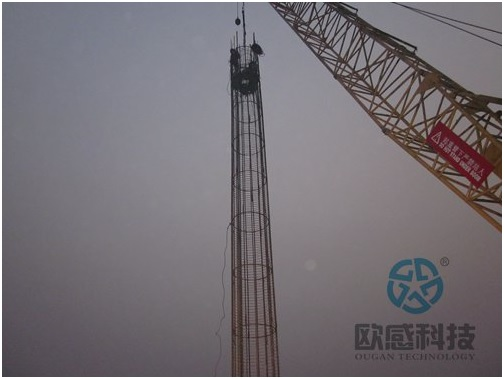 0Lower load cell and reinforcement cage - Qianjiang Project South Wiring Channel DuSense LLC Project
