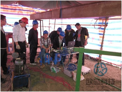 1Technician test pile onsite -Qianjiang Project South Wiring Channel DuSense LLC Project