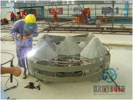 Weld reinforcement hoop to load cell 1 - Wuxi Metro of Line 1 Civil Square Station - DuSense LLC Project