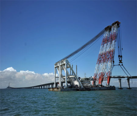 Qingdao Bay Bridge under Construction 2 - DuSense LLC
