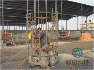 Weld load cell to upper part of reinforcement cage Qianjiang Project South Wiring Channel