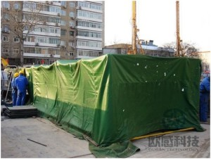 Windproof tent for testing equipment protection